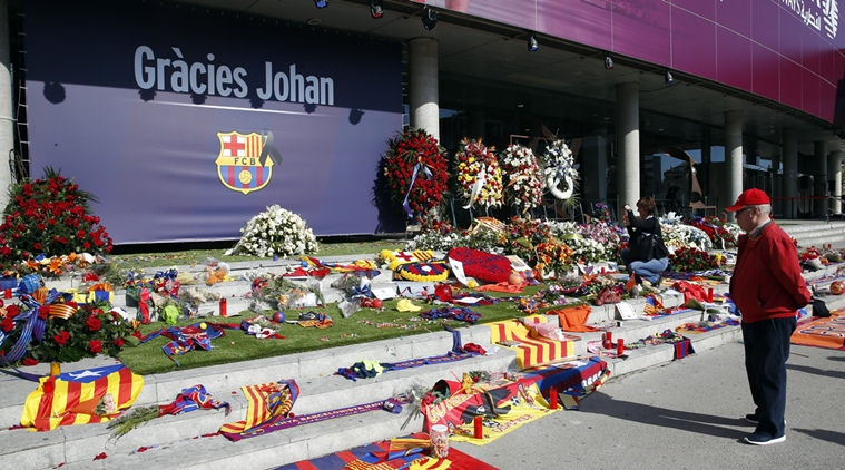 A man looks on during a memorial event for Dutch soccer player Johan Cruyff at the Camp Nou stadium in Barcelona