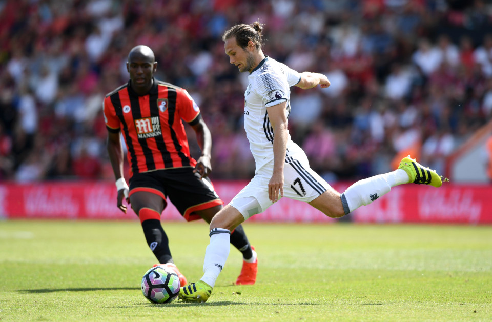 BOURNEMOUTH, ENGLAND - AUGUST 14: Daley Blind of Manchester United in action during the Premier League match between AFC Bournemouth and Manchester United at Vitality Stadium on August 14, 2016 in Bournemouth, England. (Photo by Stu Forster/Getty Images)