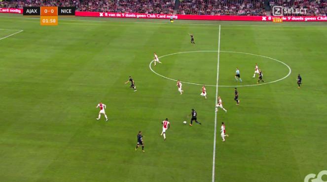 Ajax wide open Nice first goal